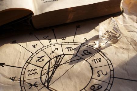 astrologie: Alt-Horoskop, von einer Hexe gemacht ;-) Lizenzfreie Bilder