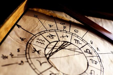 astrologie: Traditionelle Horoskop, verwendet werden, um die Zukunft vorauszusagen, Lizenzfreie Bilder