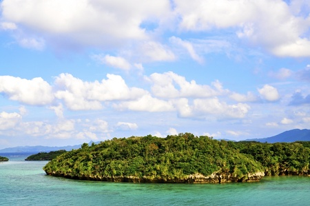 okinawa: Tropical Islands near Okinawa in emerald green water