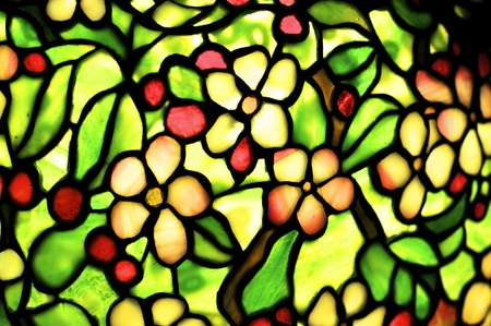 Detail of a lampshade made of stained glass  This particular art nouveau style is called Tiffany Style   photo