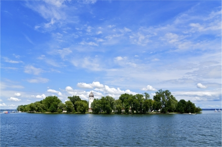Fraueninsel Island on Lake Chimsee in the Bavarian Alps Stock Photo