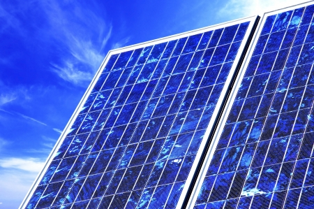 photovoltaic panel: Closeup of a photovoltaic panel  Stock Photo