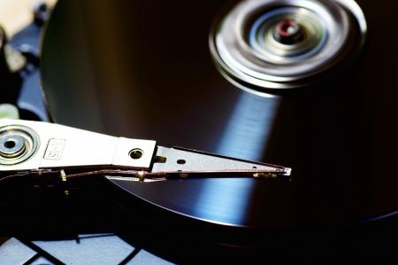 megabyte: Closeup of a harddisk in operation Stock Photo