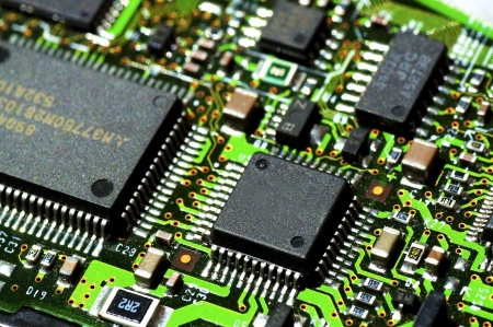 soldered: Microchips on a circuit board
