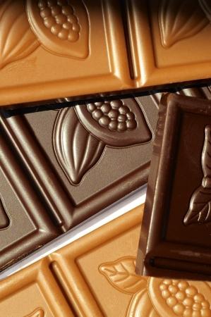 slob: Closeup of bars of milk chocolate and dark chocolate Stock Photo