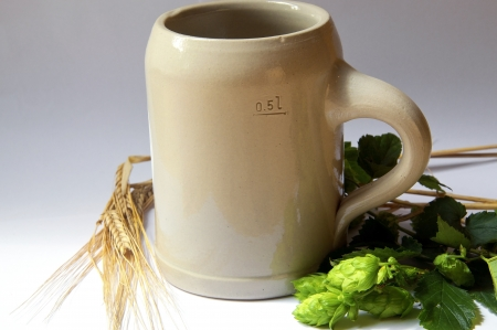 stein: Traditional Stein Beer Mug with beer