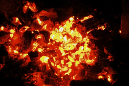 Glowing hot coal in a fireplace Stock Photo - 15506475