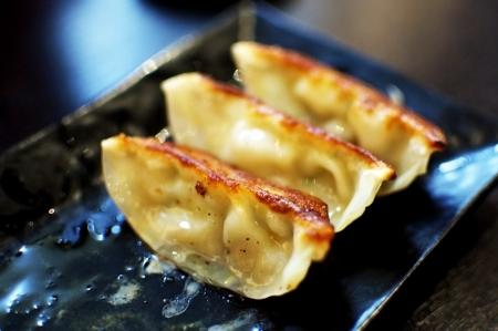 gyoza: Closeup of Japanese Dumpliongs called gyoza, similiar to Chinese Jiaozi
