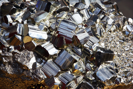 sulfide: Large pyrite crystals, also called fools gold.