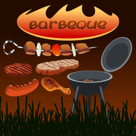 set of barbecue icons Vector illustration.