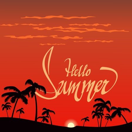 Inscription hello summer and palm trees against a tropical sunset background Illustration