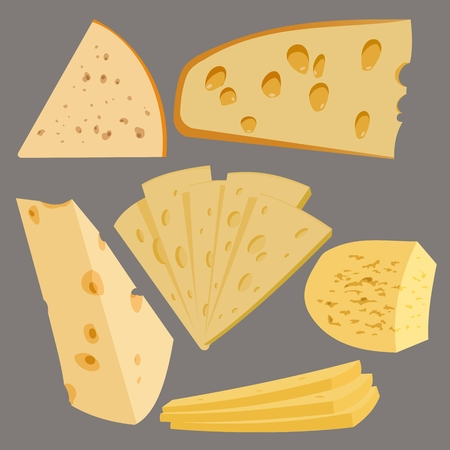A set of cheese on realistic presentation.
