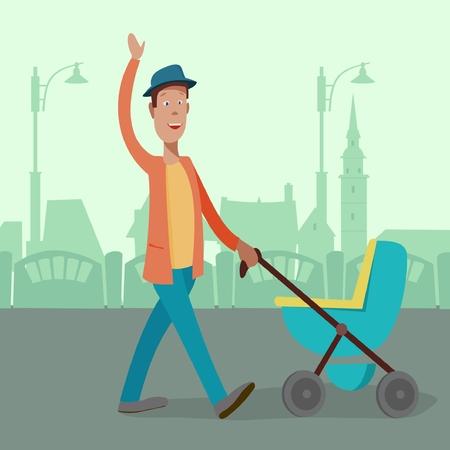 a man with a stroller Foto de archivo - 102763722