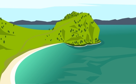 beach on the peninsula in the ocean, new zealand Illustration