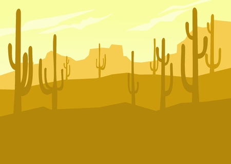Mexican desert, cactus on the background of mountains