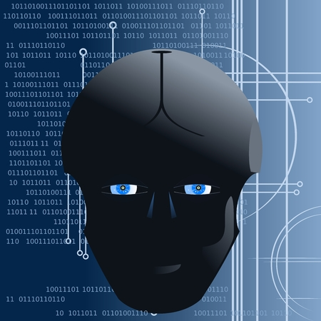 robot head on an abstract background Ilustração