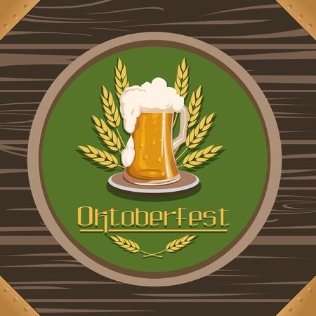 inscription oktoberfest, a glass of beer on the background of a wooden table Vektorové ilustrace