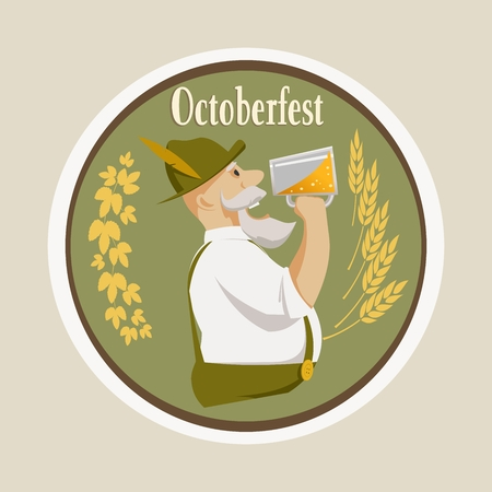 an octoberfest inscription and a man drinking beer on a barrel background