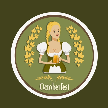 girl in traditional clothes with a glass of beer, oktoberfest Vetores