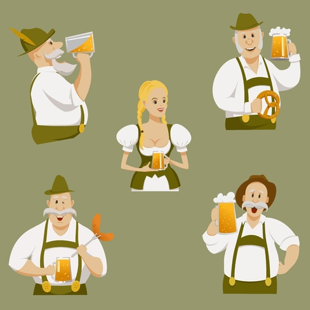 oktoberfest set, girl and men with glasses of beer