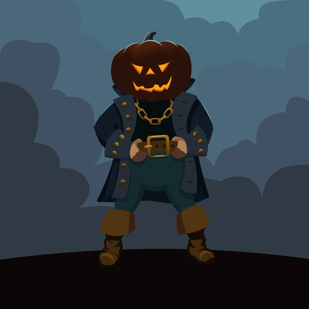 Character with a head in the form of a Halloween pumpkin in a pirate costume