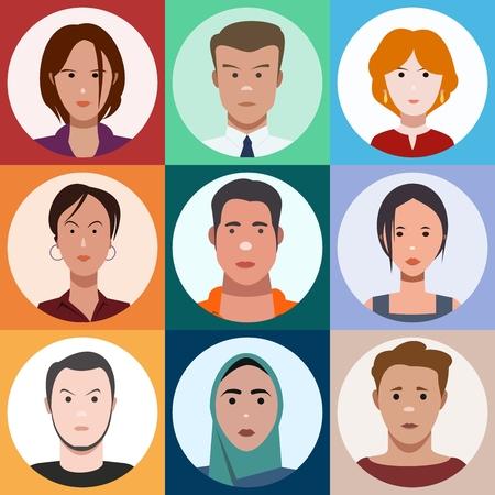 rostros de la gente, establecer Ilustración de vector
