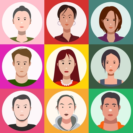 people's faces, set