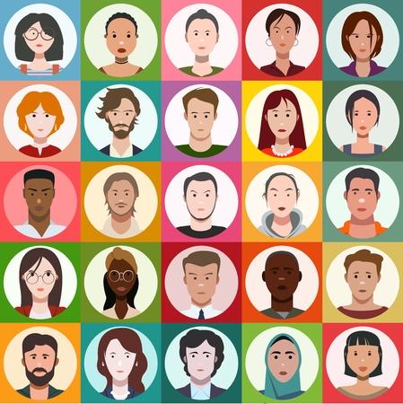 gezichten van mensen, set