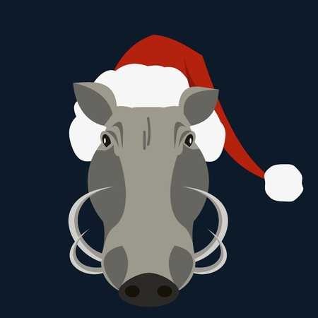 warthog pig in santa claus hat