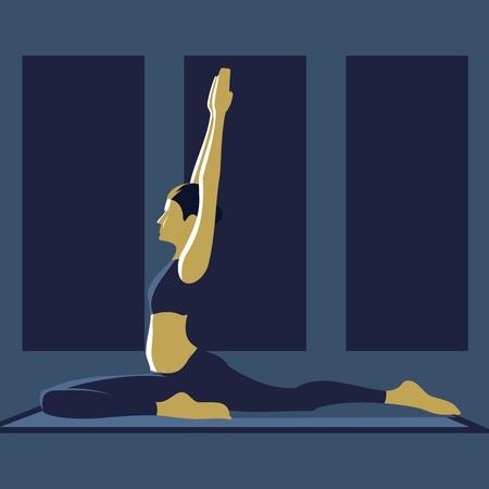 girl doing yoga asana, yoga practice