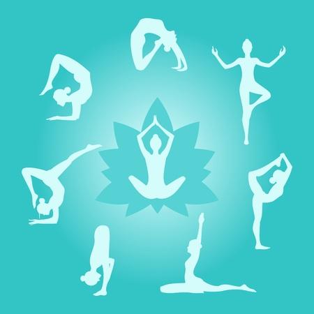 Set of girls in different yogic asanas