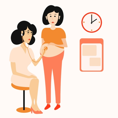 midwife examines a pregnant woman Illustration