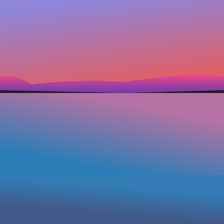 sunset over the ocean illustration
