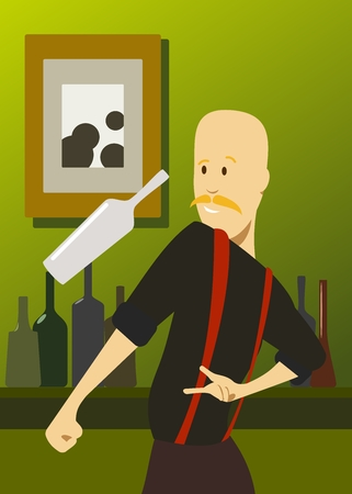 bartender juggles a bottle Stock Illustratie