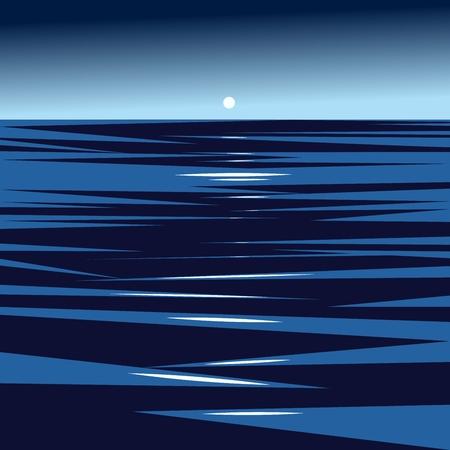 dark ocean and setting sun illustration Иллюстрация