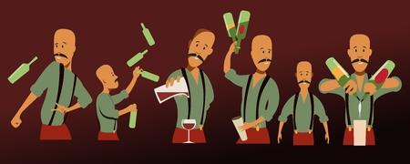 set of bartenders illustration
