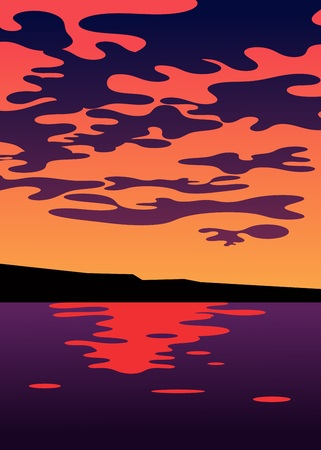 clouds and sunset over the water illustration