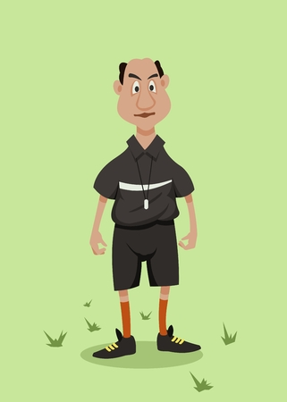 football judge in black uniform standing on the pitch