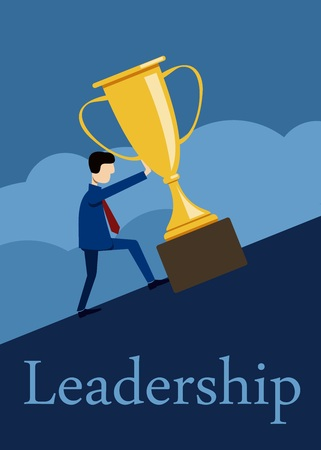 leadership pushes up a golden prize cup