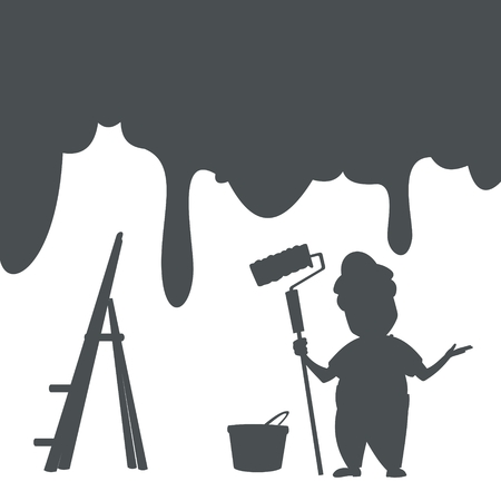 silhouette painter, paint buckets and ladders