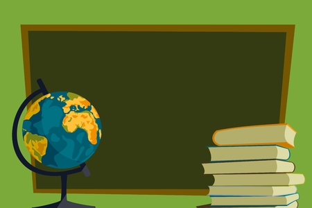 globe, books and school Иллюстрация