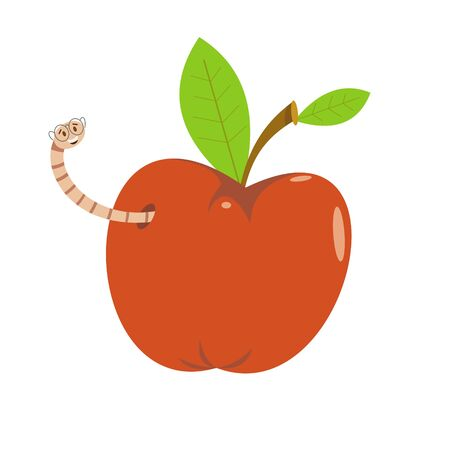 red apple and a worm on a white background