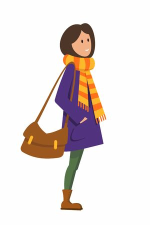 girl in a purple coat and yellow-orange scarf stands on a white background