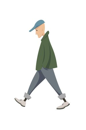man with green outwear walking illustration