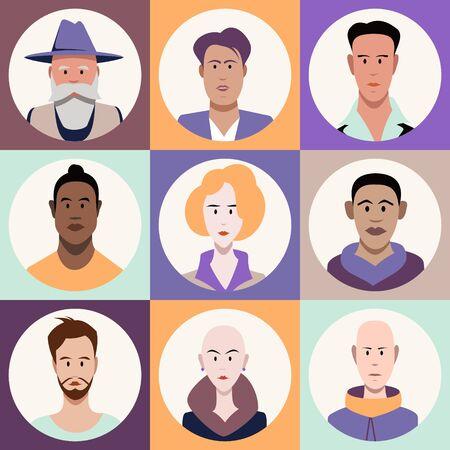 Simple flat cartoon style. Minimalistic people faces, vector illustration.