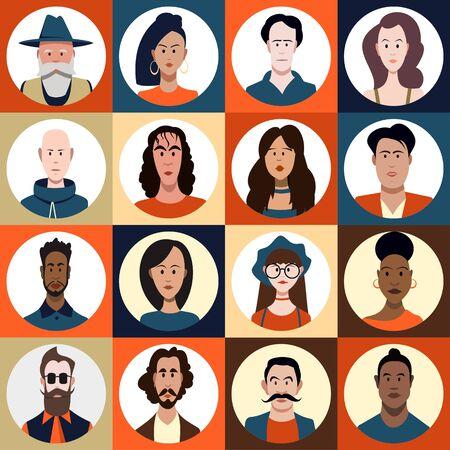 Gesichter von Menschen unterschiedlichen Geschlechts, unterschiedlichen Alters und unterschiedlicher Rassen im Profil, Set Vektorgrafik