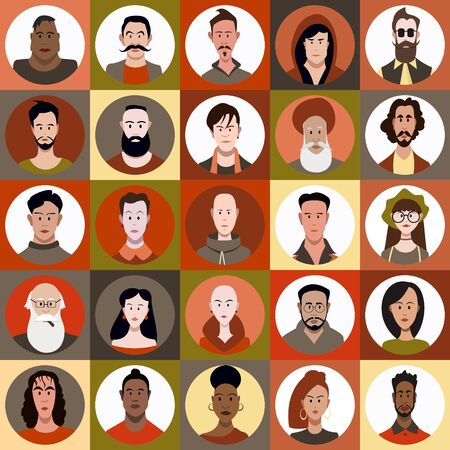 Icon set of people of different races and different age in flat style with faces. Vector woman, male character Illustration