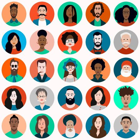 People Avatar Set Vector. Man and woman. People User Person. Fashionable image. Cheerful Worker Avatar. Round Portrait.Flat Cartoon Character Illustration