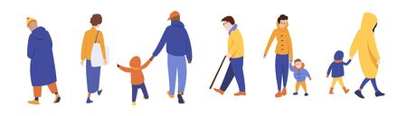 A group of people in outerwear, men and women walking with children, elderly people strolling, walking people. Autumn.