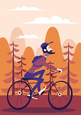 Bearded cartoon funny bicycle cyclist with a backpack behind his back rides a bicycle on a background of forest and mountains. Autumn trip.